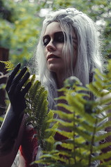 Close to nature (re-l_mair) Tags: nature girl plants beautiful green witch face hair hands canon eos7d photo unusual forest