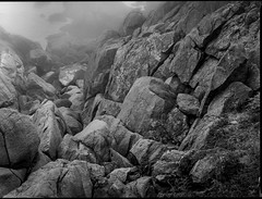 descending rock formations, coastline, fog, near Norton's Ledges, Monhegan, Maine, Mamiya 645 Pro, Ilford FP4+, Ilford Ilfosol 3 Developer, 7.5.16 (steve aimone) Tags: descending lookingdown rocks rocky fog oceab coastline monhegan monheganisland maine monochrome monochromatic mediumformat mamiya645pro ilfordfp4 ilfordilfosol3developer blackandwhite 120 film