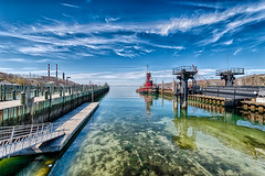 Reflections on a Sunny Day (Digital World of Paul) Tags: trees ny newyork nature water clouds reflections landscape boats photography li harbor dock sand nikon rocks longisland tugboat hdr portjefferson liny 1424 originalphotography portjeffersonharbor nikon1424f28 retinaresolution d800e nikond800e lensblr photographersontumblr