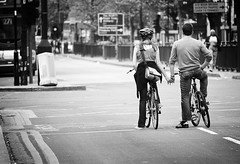 together forever (White_V) Tags: road street woman man trafficlights bus bike canon waiting couple streetphotography bikes inlove whiteandblack togetherforever 2013 holginghands