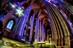 Cathedral of Saint John the Divine (Gary Burke.) Tags: nyc newyorkcity roof ny newyork church window photoshop canon religious eos rebel worship cathedral manhattan religion wideangle stainedglass ceiling fisheye uptown nave gothamist dslr hdr episcopal anglicanchurch fisheyelens morningsideheights uwa photomatix saintjohnthedivine garyburke cs5 klingon65 t1i canoneosrebelt1i