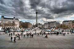 Trafalgar Square Never Dull - London (Simon & His Camera) Tags: city sky people urban building bus london weather skyline clouds landscape spring trafalgarsquare bigben iconic tiltshift simonandhiscamera
