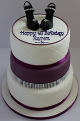 A Purple and White cake with blingy high heeled shoes!! :-) (Pauls Creative Cakes) Tags: birthday white cake sparkles shoes purple diamond