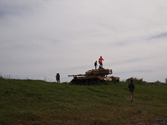 War and Peace (Ilia.K) Tags: sky people grass pen israel war tank olympus heights remnants golan centurion pease epl2