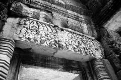 Lintel (aaronvandorn) Tags: vacation blackandwhite cambodia angkorwat taprohm rokkor