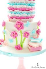 Books and Flowers! (Little Cottage Cupcakes) Tags: pink flowers cakes girl ruffles aqua butterflies books owl birthdays fushia fondant sugarpaste littlecottagecupcakes