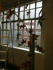(KatharineFraser) Tags: autumn shadow sculpture brown man tree art fall window nature leaves site wire natural steel branches fine foundation made crispy projection manmade rod sillhouette synthetic csm sillouhette unnatural