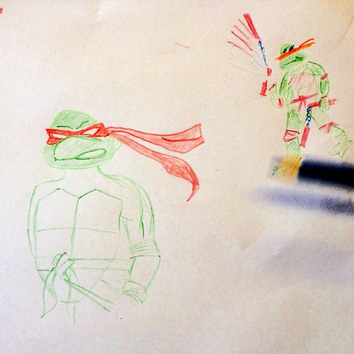 More lunchtime drawing requests. Raphael was taking too long, so I had to scribble Michelangelo to placate the crowd.