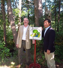 Michael and Friends of Mill Creek Chair Brad Whitcombe announce federal funding for a local fish habitat project