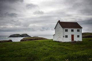 White house along the coast in Elliston, Newfoundland