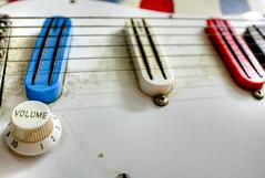 USA Guitar (6 of 12) (Kevin Borland) Tags: blue red usa white closeup arlington virginia guitar instrument northamerica strings knob volume pickups electricguitar playmate maywood dimarzio deanz
