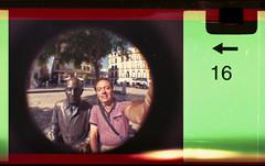 Me and Pablo (pho-Tony) Tags: camera old fish color colour eye film toy iso200 miniature lomography fuji 110 toycamera wide fisheye number novelty edge 200 frame pocket expired 16mm malaga toycameras markings 170 instamatic cartridge perforation fujicolor c41 subminiature arror tetenal 170degrees edgemarkings fisheyebaby110