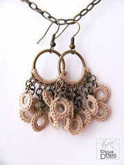 The Naturals - crochet cotton fiber textile earrings (DouaMainiDibace) Tags: thread modern beige natural handmade earth contemporary crochet cream jewelry jewellery textile cotton romantic earrings fiber bohemian artisan