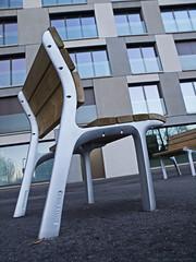 take a seat (scubaluna) Tags: wood urban detail vertical metal outdoors schweiz daylight close chairs object seat perspective luzern architektur lucerne architeture stuhl stadtmöbel olympusesystem scubalunaphotography