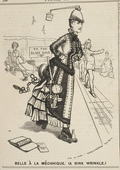 Punch, or the London Charivari - caption: ''Belle à la mécanique. (A rink wrinkle). A cartoon showing a woman standing on a model train, with various mechanical  instruments attached to her.'