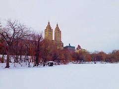 A frozen lake in Central Park, New York (lelobnu) Tags: nyc lake snow newyork skyline landscape centralpark manhattan snowstorm streamzoo dreamerstreamers