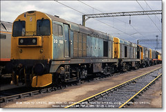 Whistling Wardrobes at Bescot  April 8th 1989 (Bristol RE) Tags: chopper wardrobe 20 bomb ee englishelectric 20106 20073 20188 20173 class20 bescot whistlingwardrobe