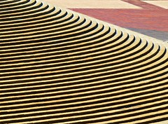 Small Figures in a Vast Expanse (Isabelle de Touchet) Tags: light abstract lines yellow architecture stairs composition canon pattern graphic geometry curves nopeople socal orangecounty minimalism costamesa isabelledetouchet