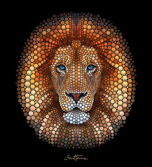Lion - Digital Circlism (Ben Heine) Tags: wild portrait art nature face look animal colorful force circles digitalart creative lion engine hood strength roar sauvage cercles rugir affordableartfair benheineart circlism digitalcirclism artbybenheine mazdabelgium