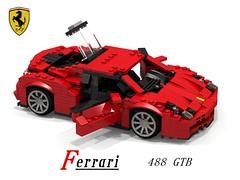 Ferrari 488 GTB (Geneva 2015) (lego911) Tags: auto italy records car model italian flickr break lego geneva lets render some ferrari turbo 88 torque coupe supercar challenge cad sportscar lugnuts gtb povray moc berlinetta ldd 2015 488 miniland lego911 letsbreaksomerecords