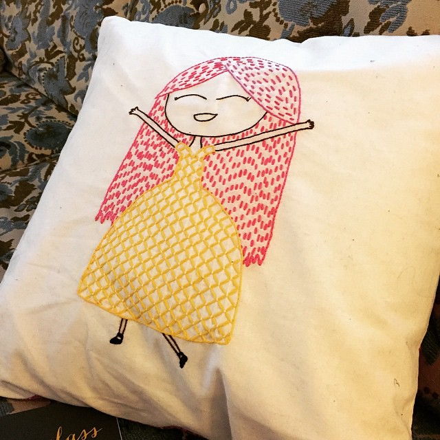 Eden drew this girl and my mom stitched it and made a pillow for Edens bed. My mom has been teaching embroidery classes at Tangle and its been so fun to keep all of this craftiness in the family.