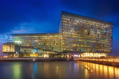Harpa & Blue Hour (Luís Henrique Boucault) Tags: travel vacation music reflection glass metal architecture night iceland amazing concert europe cityscape colours cloudy harbour center reykjavik bluehour harpa
