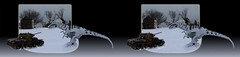Russian KV-1 Tank vs. Roboraptor Dinobot - Parallel 3D (DarkOnus) Tags: snow closeup composition toy toys lumix 3d tank control mechanical dinosaur pennsylvania snowy battle camo camouflage armor infrared remote russian buckscounty radiocontrol 116 roboraptor wowwee kv1 dmcfz35