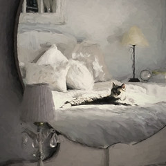 through the looking glass. . . (anniedaisybaby) Tags: winter light reflection sunshine bedroom feline shadows tabby digitalpainting daisy guest throughthelookingglass mutedcolours foracat circularmirror notabadlife goosedownduvet littledoglaughednoiretblancet topazimpressions