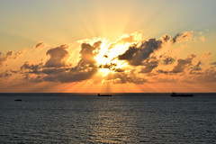 Busy Waters and Florida Skies (ChristopherSmith.Photo) Tags: ocean light sea cloud beach water sunrise boats golden coast boat ship shine bright florida ships peaceful hour lauderdale serene vast