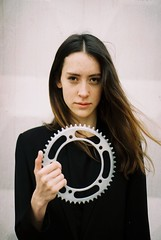 tania. offside2016. rivne. (Yaroslav F.) Tags: beauty woman rivne 35mm analog film camera olympus om 1n fixed gear chainring track pista bisycle hair wind