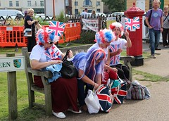 Sheringham, Queen's 90th Birthday Street Party Patriotic Ladies (Stuart Axe) Tags: pillbox pillarbox gpo postoffice royalmail wallbox letterbox postbox penfold sheringham norfolk uk england history unitedkingdom gb greatbritain flag ladies candid unionflag unionjack clobber streetparty sheringhamtowncouncil queen 90thbirthday
