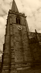 Hathersage, May 2016 -   Hathersage church (dave_attrill) Tags: hathersage village peak district derbyshire hope valley sepia monochrome effect old 2016 church churchyard graves tower parish steeple
