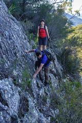 Across the ledge on Mt May (NettyA) Tags: rock landscape hiking australia hike bushwalking ledge qld queensland hikers bushwalk steep 2016 scenicrim bushwalkers mtbarneynationalpark mtmay sonya7r