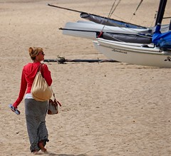 SandBags (Hodd1350) Tags: woman beach female boats back sand stripes olympus dorset barefoot bags yachts sandbanks poole penf micro43 lumixlens