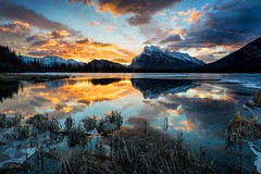 Sunrise at Vermillion Lakes, Canadian Rocky Mountains | Photography by Bob Bittner (manbeachrm) Tags: morning pink sunset red sky orange sun nature beautiful silhouette night clouds sunrise warm pretty view gorgeous horizon cloudporn photooftheday skyporn allsunsets instagood instasky tagsforlikes tflers tagsforlikesapp piclogy