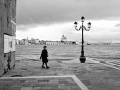 Venezia - 2016 (Enzo D.) Tags: venice blackandwhite italy woman skyline facade canal italia streetlamp olympus it dome laguna venezia biancoenero veneto 2016 giudecca wwwenzodemartinocom