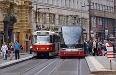 Tram stop at Bl labu - Central Prague (Prague 1) (paulburr73) Tags: city june czech prague tram rail railway czechrepublic cz citycentre tatra tramline line3 staremesto 2016 9235 line8 8359 t3rp bllabu koda15t
