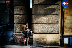 (FriendFisherman) Tags: street light sun sunlight girl hair photography photo florence nikon df candid naturallight firenze nikkor 58mm available florenz vsco nikondf
