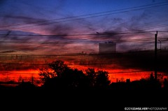 Sunset (djhsilver) Tags: blue sunset red lines silhouette bay exposure power double thunder thunderbay