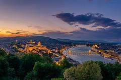 Bye, Bye Budapest (DanielSan_05) Tags: city longexposure bridge blue sunset urban castle night river boats photography lights nikon hungary cityscape dusk citadel budapest trails chain hour danube iluminations gelert d5100