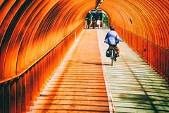 (bentleycoon) Tags: red summer bicycle scotland path glasgow tunnel cycle