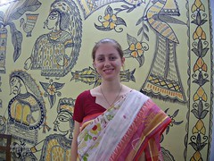 Red and white sari for Bengali New Year (karlahovde) Tags: travel portrait art smile painting mural traditional bangladesh bengali