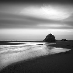 Outlet (C A Soukup) Tags: bandonoregon a7r blackandwhite goingbacktothesea lastlight longexposure oregoncoast outflow outlet