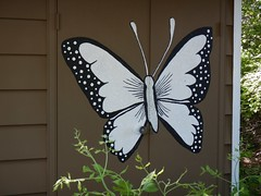 Welcoming summer with a new mural.... (Jeannette Greaves) Tags: butterfly doors painted playhouse jeannette 2016