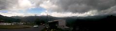 Panorama/panoramic (vantcj1) Tags: postes arquitectura carretera cementerio edificio paisaje cielo nubes colina montaas panormica cableado pendiente vehculos