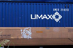 (mightyquinninwky) Tags: freight train tags tagged tag character lofemme graffiti stacker intermodal streak