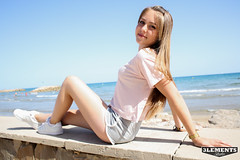 Hello Sun (3lementstudio) Tags: barcelona sun sexy beach smile model posing sunny playa modelo verano mirada tarragona posado cunit
