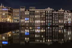 Welcome to Amsterdam (McQuaide Photography) Tags: city longexposure nightphotography travel light summer urban house holland colour reflection building tourism window water netherlands amsterdam architecture night photoshop canon eos evening licht canal europe waterfront nacht outdoor availablelight tripod nederland ramen zomer fullframe dslr avond 1740mm waterside stad authentic raam lightroom 6d damrak kleur lseries grachtenpanden traveldestination canon6d mcquaidephotography
