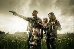 The Walking Dead Family 2 (karlwpfeiffer) Tags: family green portraits gun photos awesome badass group creative knife daughters horror karl amc conceptual zombies pfeiffer clever walkingdead