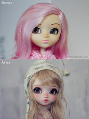 Before & After - for Cori (-Poison Girl-) Tags: pullip pullips custom customs full ooak makeup faceup poisongirlsdolls poisongirldolls poison girl doll dolls oren before after customization rewigged new hair wig blonde wavy fringe bangs stock eyelashes eyechips eyes freckles pecas nose carving mouth lips 2016 june junio junplanning jun planning groove inc